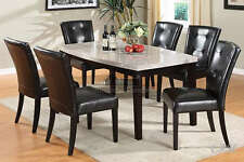 7PC MARION MARBLE TOP ESPRESSO FINISH WOOD DINING TABLE SET BYCAST LEATHER CHAIR