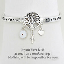 Tree of Life Charm Bangle Stretch Bracelet SILVER Evil Eye Mustard Seed Inspire