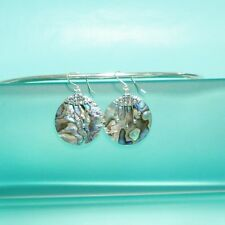 "1"" Round  Abalone Paua Shell Dangle Earrings Handmade 925 Solid Sterling Silver"