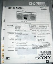 SONY CFS-2000L 2-Band Stereo Cassette-Recorder Service Manual
