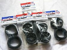 TAMIYA 1/10 RC CAR TIRE(50454)+WHEEL(53336)+INNER SET(Slick,Reinforced Mesh.BK)