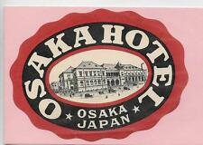 OLD OVAL LUGGAGE LABEL~OSAKA HOTEL~OSAKA,JAPAN