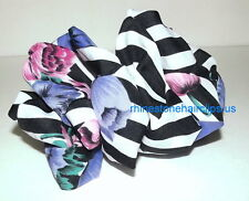 VTG SCARF ~ giant hair bow HUGE big barrette accessory PURPLE black roses