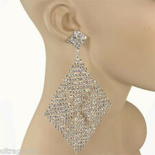 "XL - 5.5"" Crystal RHINESTONE CHANDELIER PAGEANT EARRINGS/CROSSDRESSER/DRAG QUEEN"