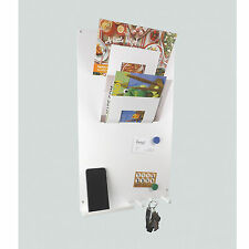 WHITE 3 in 1 Magnetic Memo board letter rack and key holder by The Metal House