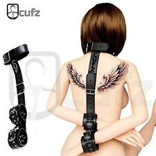 Neck Hand Ankle Handcuff Restraints Black Leather Restraint Cuffs Adult Sex Toy