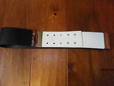 """* $118 Womens Sz XS S Kenneth Cole Wide Black White Double Hinge Belt 26"""" Max"""