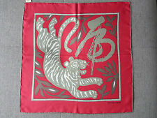 NEW & TAG  HERMES  PINK & GREY  YEAR OF THE TIGER  SILK POCHETTE  42 x 42cm