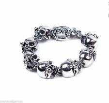 New Men's Stainless Steel Skull Bracelet Chain Rugged Biker Wide Link 9""