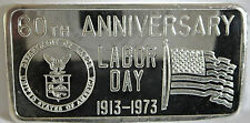 GREAT LAKES MINT 60TH ANNIVERSAY LABOR DAY 1973 1 TROY OZ .999 SILVER ART BAR