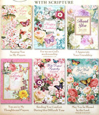 cHRISTIAN sCRIPTURE Set of 6 Assorted Floral Butterfly Greeting Cards  #96490