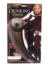 MEDIEVAL DRINKING HORN WITH BELT ADULT FOR FANCY DRESS PARTY