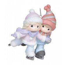 New PRECIOUS MOMENTS Ornament  ICE SKATE PAIR Figure Love WINTER POND Scarf Hat