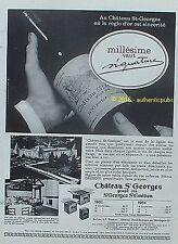 PUBLICITE CHATEAU ST GEORGES ST EMILION VIN GRAND CRU MILLESIME DE 1966 AD PUB