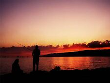 PHOTOGRAPHY SEASCAPE SUNSET AFTERGLOW SILHOUETTE FISHING PRINT POSTER MP3547A