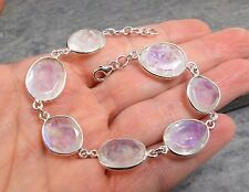 925 Silver Cut RAINBOW MOONSTONE Bracelet B502~Silverwave*uk Jewellery
