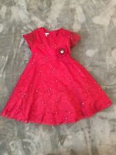 Little Girls - Red - Dress - Sz 6 - Short Sleeve - Empire Waist -Floral -Sequins
