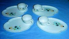Federal Glass PATIO ATOMIC FLOWER Snack Plates & Cups Set Turquoise & Black 8-pc