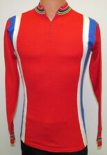 vtg Giordana RED WOOL Cycling Sweater L/4 80s italy White Blue Stripes jersey