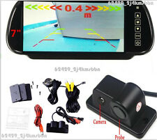 "7"" Car SUV Rear View TFT LCD Mirror Monitor +  Reversing Camera Radar Beeper Kit"