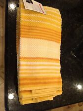 KITCHEN AID  2 PACK KITCHEN TEA TOWELS BUTTERCUP YELLOW WITH WHITE STRIPES NIP