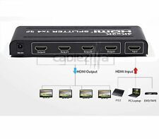 4K Full HD 1x4 Port HDMI Splitter Repeater Hub Amplifier Box 3D 1 input 4 output