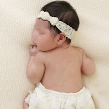 Baby Girl Elastic Lace Pearl Bow Headband Hair Band Newborn Photo Useful