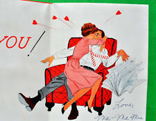 Wife Kissing Husband~VTG VALENTINES DAY GREETING CARD Cute Lady Norcross 1950 60