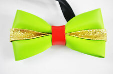 New Mens PVC Faux Leather Bright Green Shining Bow Tie Bowtie Wedding Party