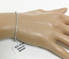 NEW ONE ROW STERLING SILVER 925 ADJUSTABLE+CRYSTALS+CHAIN LINK TENNIS BRACELET