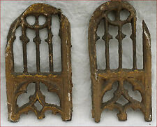 Antique French Gilt Carved Wood Pair Ogive Windows Oratory Chapel