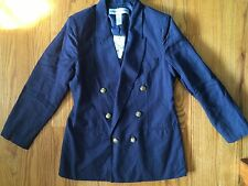 NWT Adolfo Studio 14 blue linen blend lined double breasted blazer