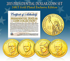 2015 U.S. MINT 24K GOLD PRESIDENTIAL $1 DOLLAR COINS * COMPLETE SET OF 4 *