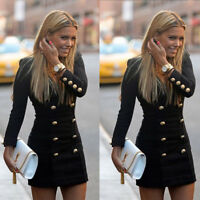 New Dress Women Slim Long Sleeve Buttons Casual Dresses Cocktail Mini Skirts Hot