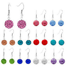 Wholesale 10 pairs  10 mm disco ball earrings swing women send mixed color AAE