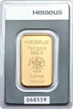 Lingot or  1 once or pur 999/1000 Heraeus numéroté Suisse gold bar 1 oz