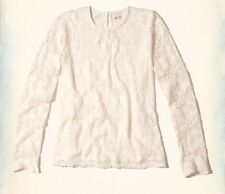 NEW Hollister Co. Long-Sleeve Lace Top Shirt Cream Off White sz XS