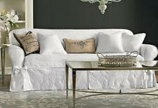 Sure Fit white Matelasse Damask One Piece slip cover Slipcovers Sofa only