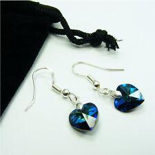 1 pair 925 STERLING SILVER Genuine SWAROVSKI Crystal HEART Birthstone EARRINGS