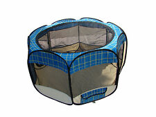 New Small Blue Grid Pet Dog Cat Tent Playpen Exercise Play Pen Soft Crate