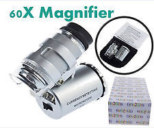 60x Microscope Mini,LED Magnification Pocket Jewelry Magnifier Glass