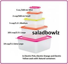 TUPPERWARE New KEEP TABS 5-PC SET Nesting BPA Free in Electric Colors! FREE SHIP
