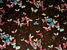 CHIFFON PRINT-SMALL BUTTERFLY-BLACK//TURQ/PINK/IVORY -DRESS FABRIC-FREE P&P