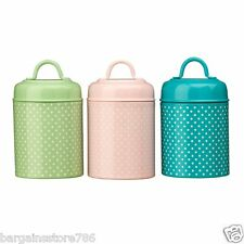 Lily Tea Coffee Sugar Canister Retro Set of 3 Kitchen Tidy Storage Pastel New
