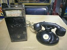Antique 1920s Gray Pay Station Phone Box And Table Phone
