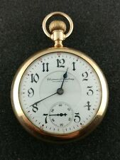 VINTAGE 18SIZE ILLINOIS TWO TONE BUNN SPECIAL PRIVATE LABEL 21JEWEL POCKET WATCH
