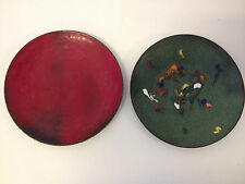 Vintage Mod Pair of Copper Enamel Ashtrays 1 Red 1 Green w/ Abstract Decoration
