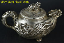 Collectible China Culture Old Tibet Silver Handwork Dragon Noble Teapot