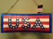 Patriotic Glitter America,USA sign plaque 4th of july,Memorial Day Decorations
