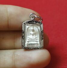Silver Mini Phra Somdej Lp Toh,Wat Rakang Real Old Antique Buddha Thai Amulet#80